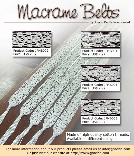 JPMB002, JPMB001, JPMB004, JPMB003 - Macrame Belts. Made of high quality cotton threads. Available in any colors and designs.