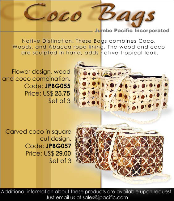 JPBG055, JPBG057 - Coco Bags. Native Distinction. These Bags combines coco, woods, and abacca rope lining. The wood and coco are sculpted in hand, adds native tropical look.