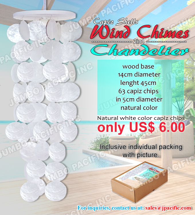 capiz wind chimes white